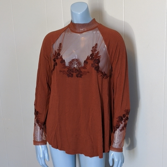 Free People Tops - Free People Sheer Chocolate Embroidered Tunic